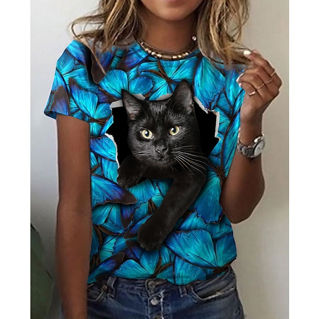 Dame 3D Cat T skjorte Katt Grafisk 3D Trykt mønster Rund hals Grunnleggende Topper Blå