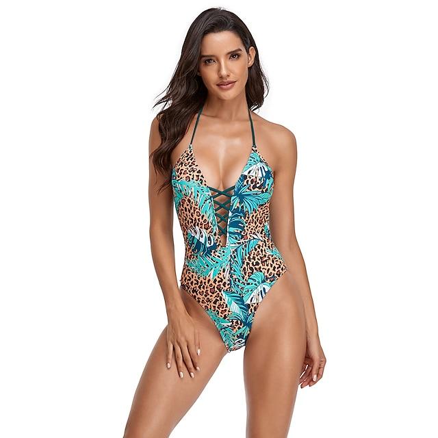 Mujer Traje de baño Licra Bañadores Body Transpirable Secado rápido Sin Mangas Natación Surf Deportes acuáticos Leopardo Verano
