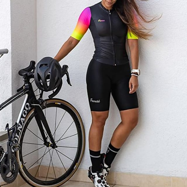 Women's Men's Short Sleeve Triathlon Tri Suit Summer Polyester Black Rainbow Patchwork Bike Quick Dry Breathable Sweat wicking Sports Rainbow Mountain Bike MTB Road Bike Cycling Clothing Apparel
