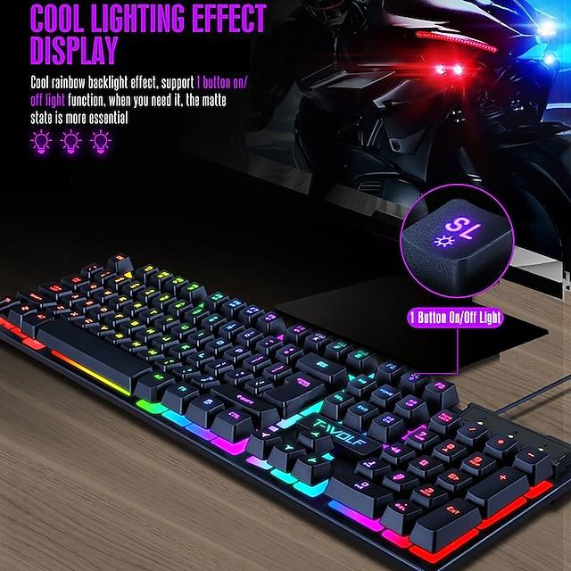 mechanical gaming keyboard tf200 rainbow backlight usb ergonomic gaming keyboard, suitable for pc laptop fashion gaming