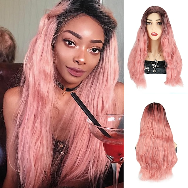 Ombre Pink Color Synthetic Hair Wigs Pink Wavy Wigs Cosplay Party Wigs Natural Wave Wigs For Black Women