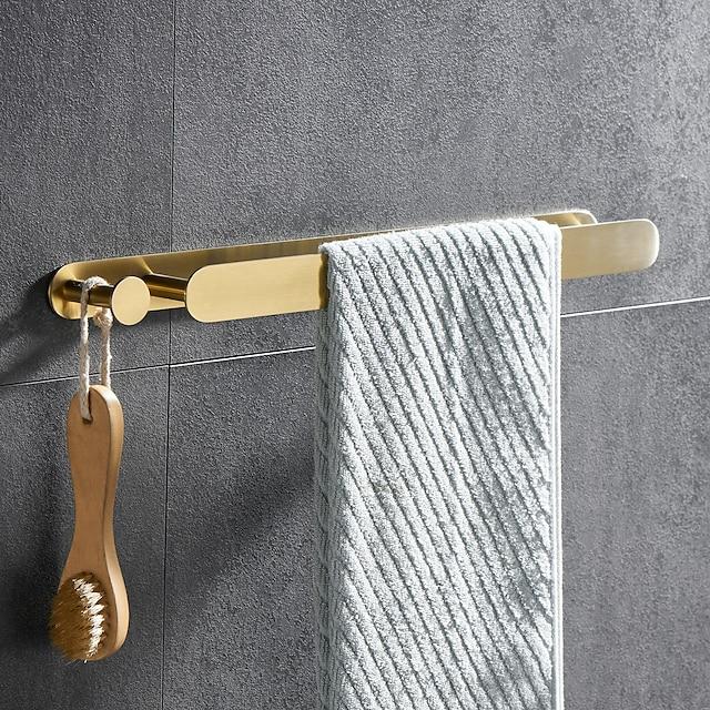 gylden multifunksjonell håndklebjelke med krok 304 rustfritt stål galvanisert, 40 cm, børstet gull, baderom og kjøkkenhylle slagfri