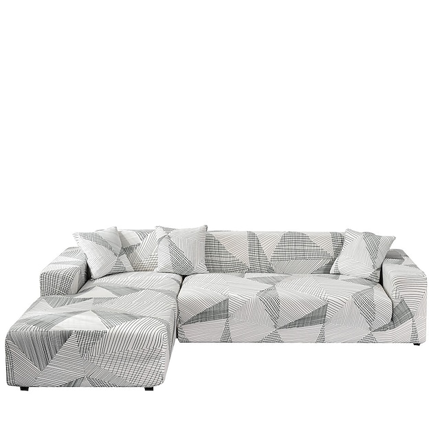 Sofa Cover Contracted Print Dustproof Stretch Slipcovers Stretch Super Soft Fabric Couch Cover Fit for 1to  4 Cushion Couch and L Shape Sofa (You will Get 1 Throw Pillow Case as free Gift)