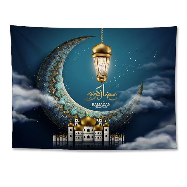 Eid Mubarak Islamic Muslim Ramadan Wall Tapestry Art Decor Blanket Curtain Hanging Home Bedroom Living Room Decoration Polyester Moon Lantern Cloud