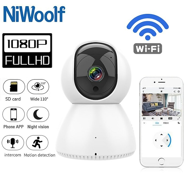 2021 HOT 1080P IP Camera Wifi Home Security Alarm White IP Camera Surveillance Wifi Night Vision CCTV Camera Baby Monitor