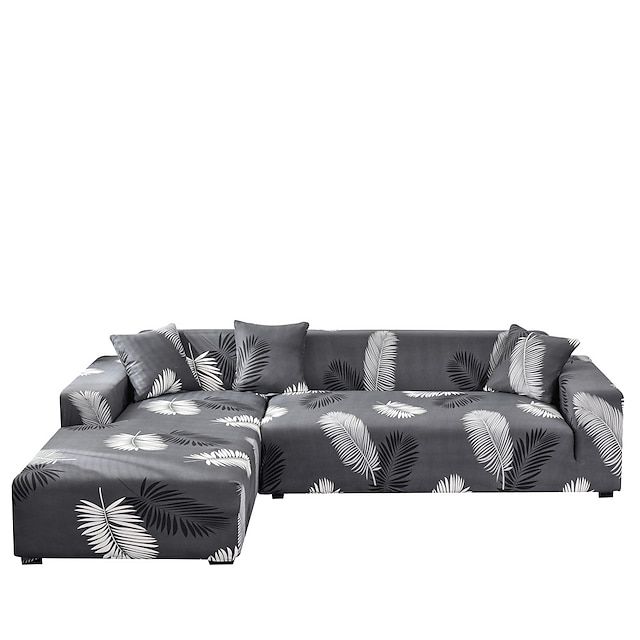 Sofa Cover Feathers Print Dustproof Stretch Slipcovers Stretch  Super Soft Fabric Couch Cover Fit for 1to  4 Cushion Couch and L Shape Sofa (You will Get 1 Throw Pillow Case as free Gift)