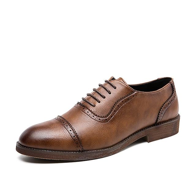 בגדי ריקוד גברים נעלי אוקספורד נעלי עור הדפסת אוקספורד עסקים וינטאג' קלסי יומי מסיבה וערב עור נאפה עור ללא החלקה ללבוש הוכחה מגפונים\מגף קרסול שחור חום אביב קיץ