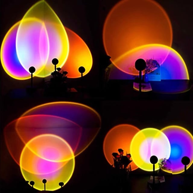 Sunset Lamp Bedroom Projection for Romantic Atmosphere Photo Art Rainbow Projection Background