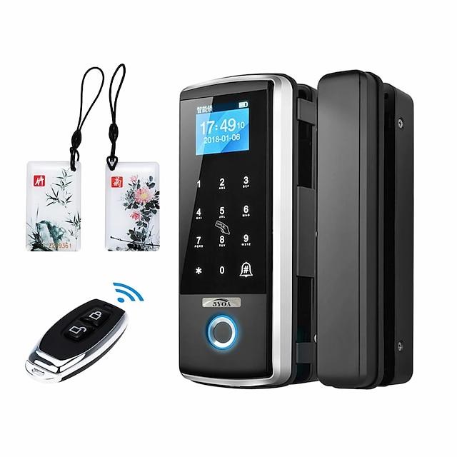 Bangchen bureau porte en verre empreinte digitale serrure mot de passe serrure trou libre serrure de porte intelligente double porte télécommande contrôle d'accès serrure