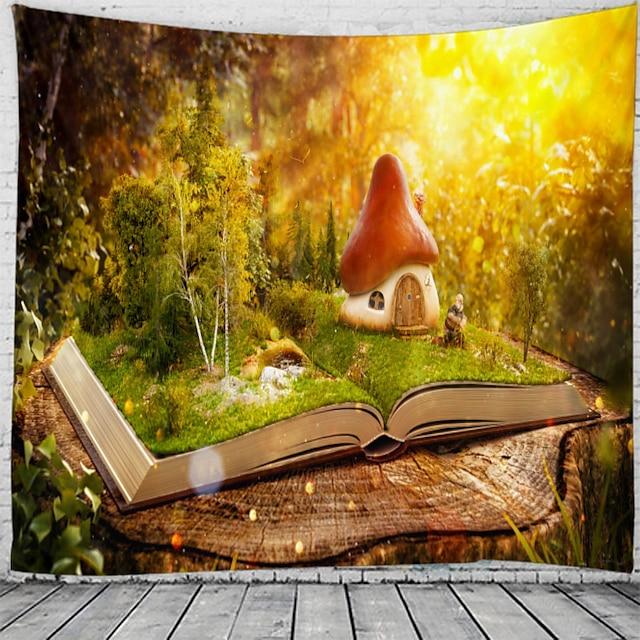 грибной домик на книжной стене гобелен художественный декор одеяло штора висит дома спальня гостиная украшение красивый вид из окна