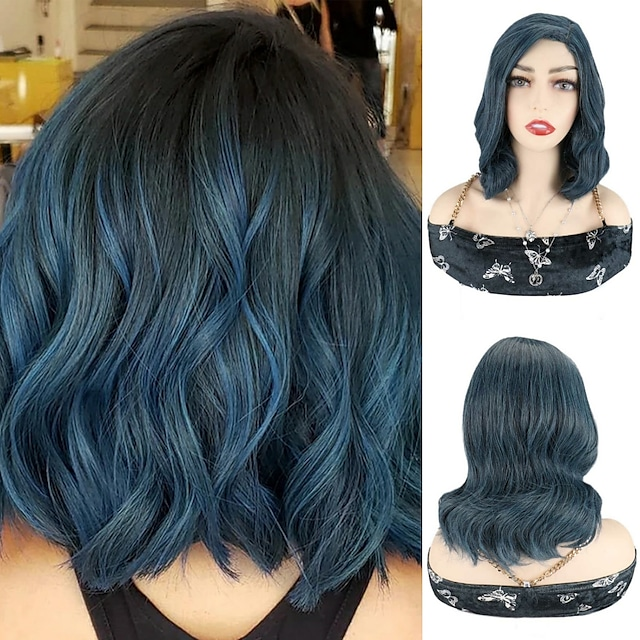 Blue Body Wave Bob Wigs Synthetic Hair Wigs Cosplay Party Short Wigs For Women