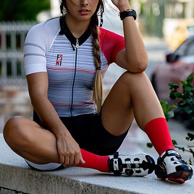 Femme Manches Courtes Combinaison Triathlon Triathlon Eté Polyester Grise Mosaïque Vélo Séchage rapide Respirable Anti-transpiration Des sports Mosaïque VTT Vélo tout terrain Vélo Route Vêtement Tenue