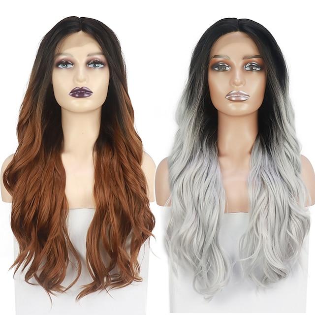 Spitze Front Perücken Ombre Farbe natürliche Welle Perücke für Frauen japanische hitzebeständige Stoff synthetische Haarersatz Perücken 26inch freie Kappe
