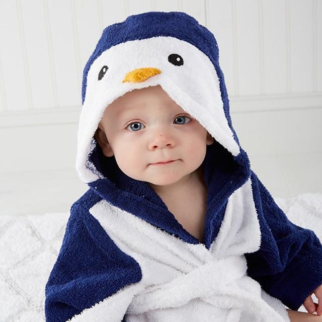 flanell badrock för baby, söt pingvin mjuk absorberande hem kläder barn badrock