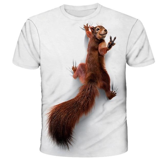 Homme Tee T-shirt 3D effet Graphique Ecureuil Animal Imprimé Manches Courtes Quotidien Hauts basique Designer Chic de Rue Exagéré Col Rond Blanche Bleu Rouge