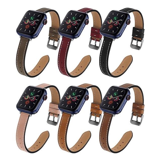 Akıllı Saat Bandı için Apple  iWatch 1 pcs İş grubu Gerçek Deri Değiştirme Bilek Askısı için Apple Watch Serisi SE / 6/5/4/3/2/1