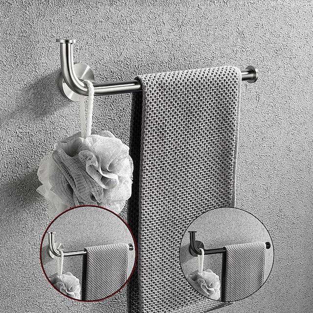çok fonksiyonlu havlu askısı fırçalanmış / boyalı yüzey tuvalet kağıdı tutucusu, kat kancalı 304 paslanmaz çelik mat siyah / gümüş duvara monte