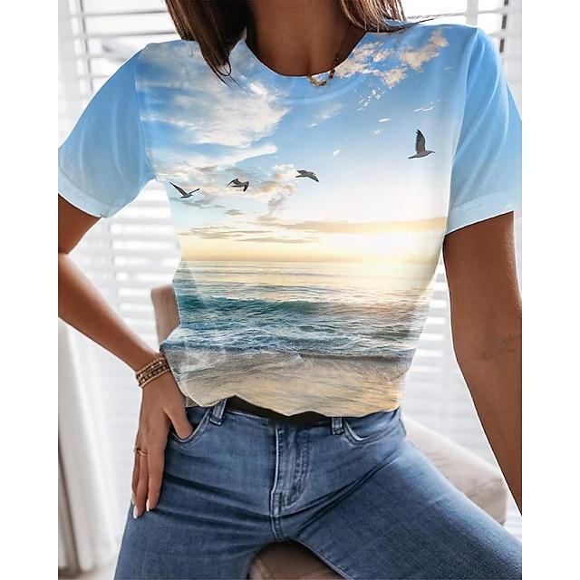 Dame Ferie 3D Maling T skjorte Grafisk Landskap Trykt mønster Rund hals Grunnleggende Strandstil Topper Blå