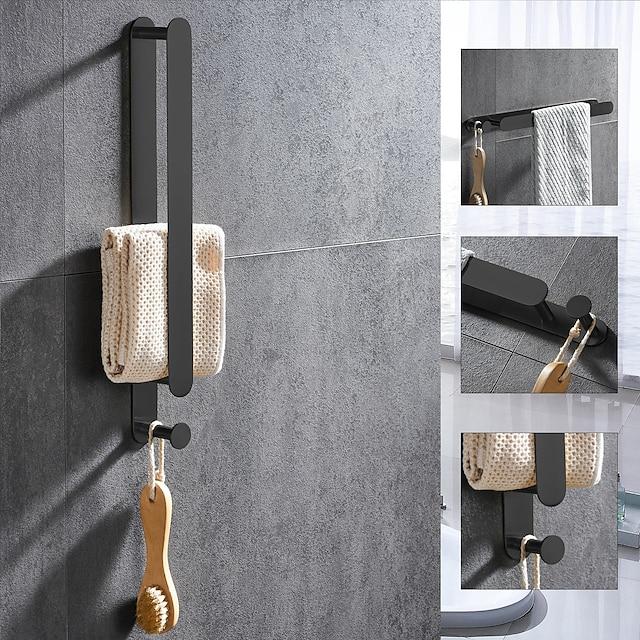 מוט מגבות ומתלה מגבות עם ווים עיצוב חדש נירוסטה מתלה מגבות אמבטיה רכוב גימור צבוע 1 pc