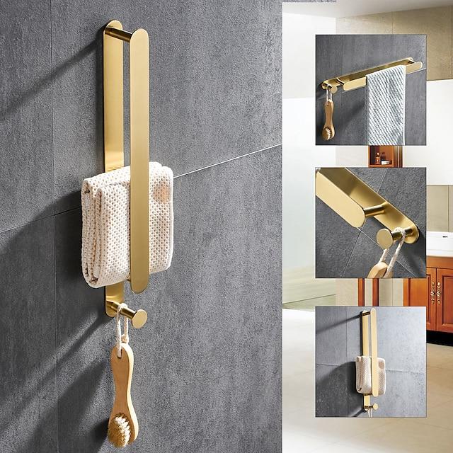 304 paslanmaz çelik elektroliz, 40cm, fırçalanmış altın, banyo ve mutfak rafı zımbasız kancalı altın çok işlevli havlu çubuğu