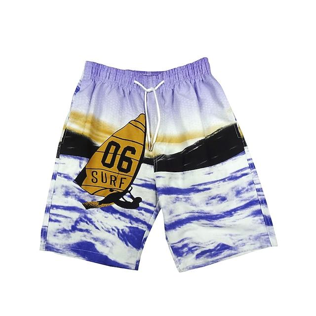 Bărbați Pantaloni Scurți de Înot Boxeri înot Pantaloni Uscare rapidă Micro-elastic Cordon - Înot Surfing Floral / Botanic Cravată Toamnă Primăvară Vară