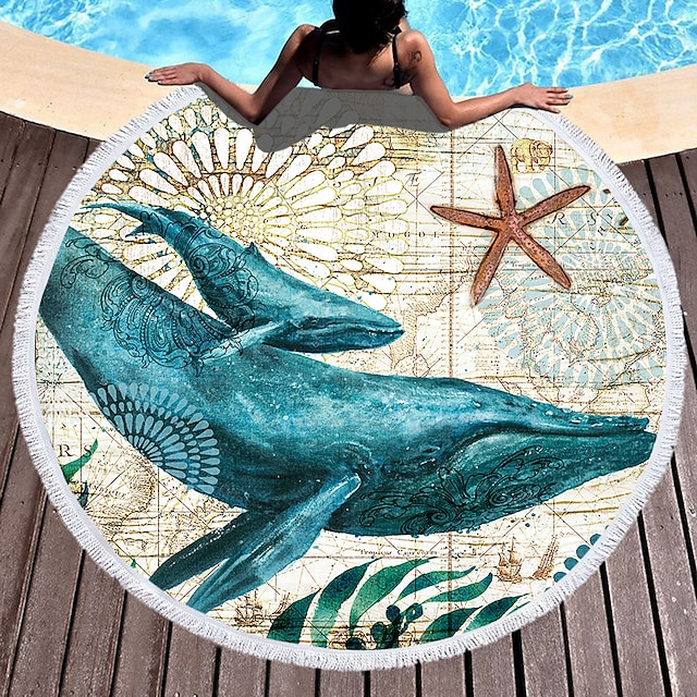 Superfine Fiber Round Marine Animal Patterned  Beach Towel,Sand Free Towel, for Travel, Camping Pool,Outdoor or Picnic