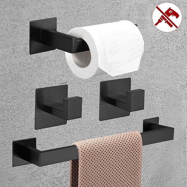 accessoire de salle de bain porte-papier toilette / patère et porte-serviette simple nouveau design auto-adhésif en acier inoxydable fixé au mur noir mat