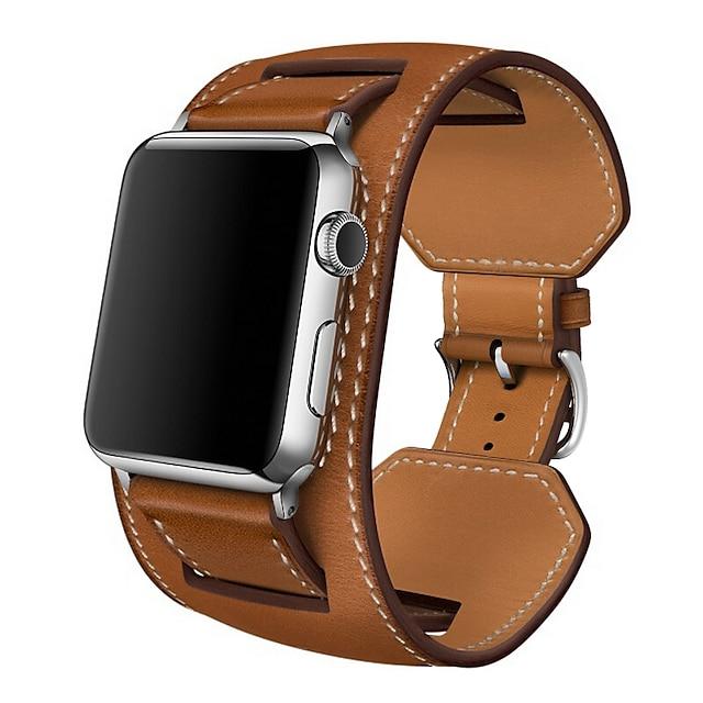 สมาร์ทวอทช์แบนด์ สำหรับ Apple  iWatch 1 pcs กลุ่มธุรกิจ หนังแท้ เปลี่ยน สายห้อยข้อมือ สำหรับ Apple Watch Series SE / 6/5/4/3/2/1