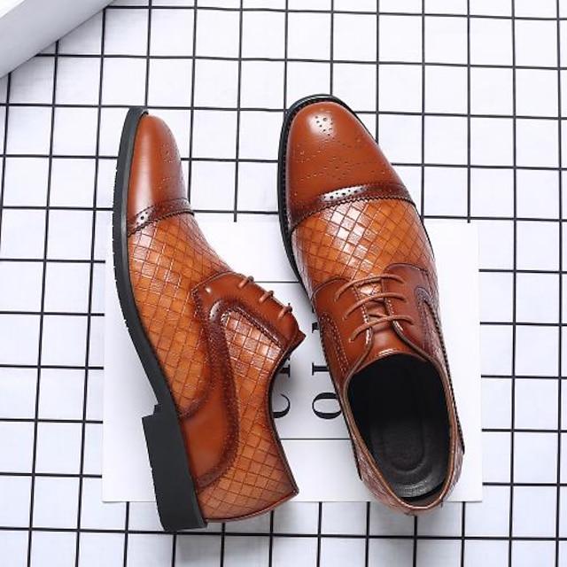 Homens Oxfords Bullock Shoes Diário Escritório e Carreira Caminhada Couro Ecológico À Prova-de-Água Use prova Azul Real Laranja Preto Outono Primavera