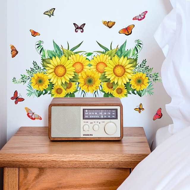 Wall Sticker Sunflower Leaf Butterfly Flying Bedroom Wall Beautification Decoration Removes Sticker