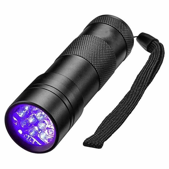 Lanterne Cu Lumină Închisă Rezistent la apă LED Lampă de 5 mm 12 emițători 1 Mod Zbor Rezistent la apă Lumină ultravioletă Detector Camping / Drumeții / Speleologie Utilizare Zilnică Vânătoare Negru