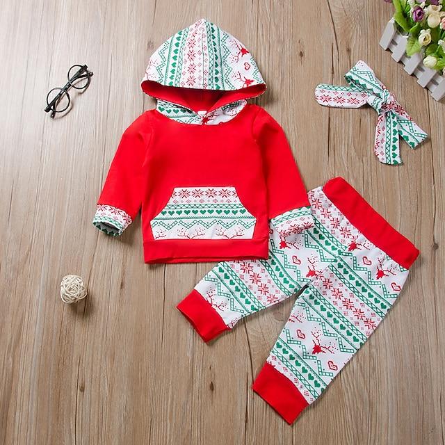 طفل للفتيات أساسي طباعة كم طويل عادية مجموعة ملابس أحمر