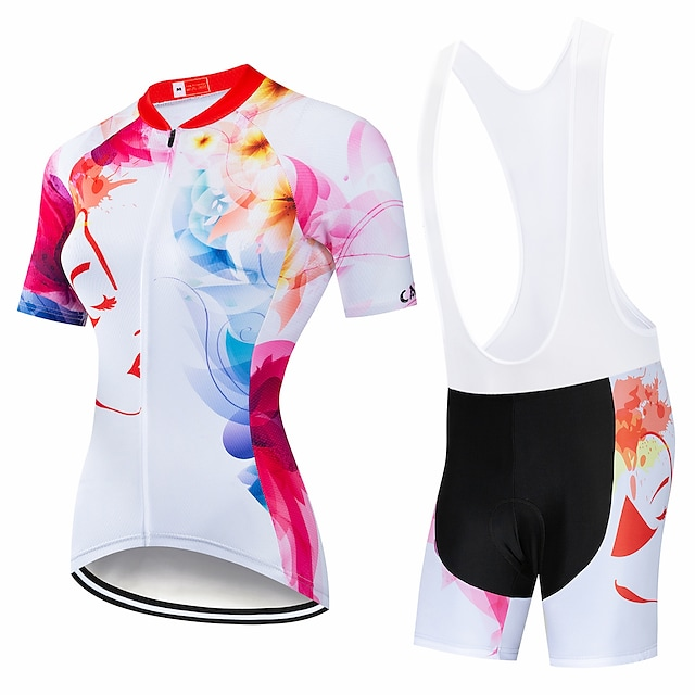 CAWANFLY Women's Short Sleeve Cycling Padded Shorts Cycling Jersey with Bib Shorts Cycling Jersey with Shorts Summer Spandex Lycra Polyester Red and White White Black+White Rainbow Geometic Bike