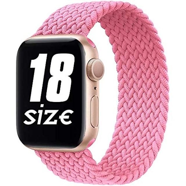 smartwatch band nylon gevlochten solo-lus compatibel met Apple Watch-band, sport-elastische band voor iwatch-serie se / 6/5/4/3/2/1, limonade roze, 38 / 40mm-3