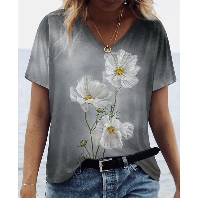Women's Floral Theme Daisy Painting T shirt Floral Print V Neck Basic Tops Gray