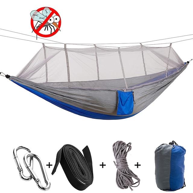 Hamac Moustiquaire Hamac double Extérieur Anti-Moustique Ultra léger (UL) Résistant à l'humidité Bonne ventilation Rectangulaire Nylon Parachute avec mousquetons et sangles pour 2 personne Camping