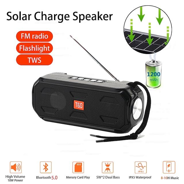 TG280 Bluetooth Speaker Portable Wireless Stereo bass Music Box TWS Outdoor Speaker Support TF/FM Radio/USB/AUX With flashlight