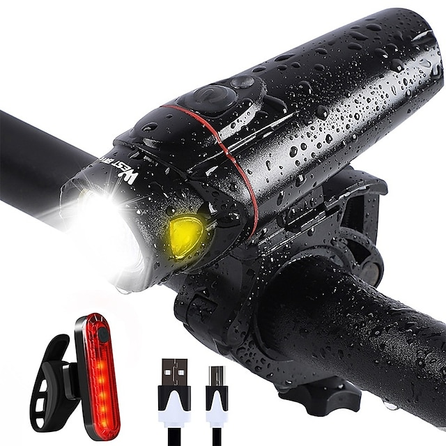 LED Bike Light Front Bike Light Rear Bike Tail Light LED Bicycle Cycling Waterproof Super Bright Durable Rechargeable Li-Ion Battery 1200 lm USB White Camping / Hiking / Caving Everyday Use Cycling