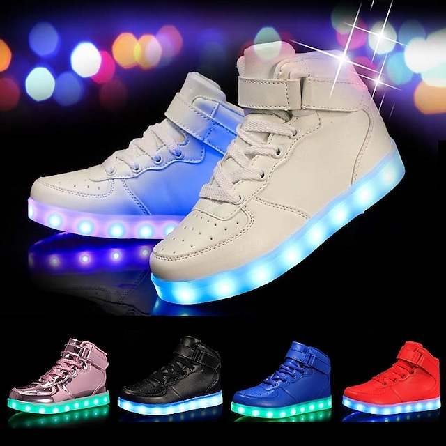 Boys' Girls' Sneakers LED Comfort LED Shoes Leatherette Little Kids(4-7ys) Big Kids(7years +) Casual Outdoor Walking Shoes Lace-up Hook & Loop LED White Black Red Spring