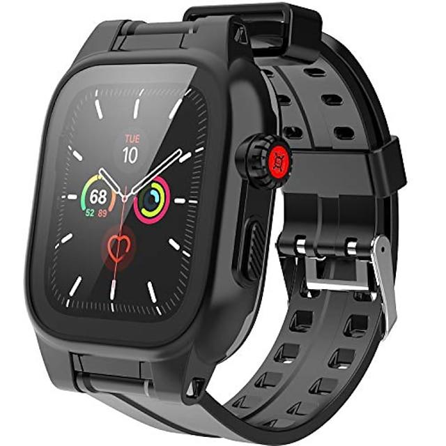 apple watch serisi 6 / se / 5/4 44 mm için su geçirmez kılıf, ip68 su geçirmez, darbeye dayanıklı, darbeye dayanıklı, apple watch entegre ekran koruyuculu tam vücut koruyucu kılıf