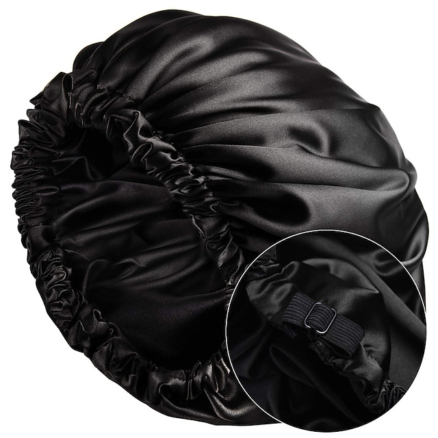 Satin Bonnet Sleep Bonnet Cap Extra Large Double Layer Reversible Adjustable Satin Cap for Sleeping Hair Bonnet