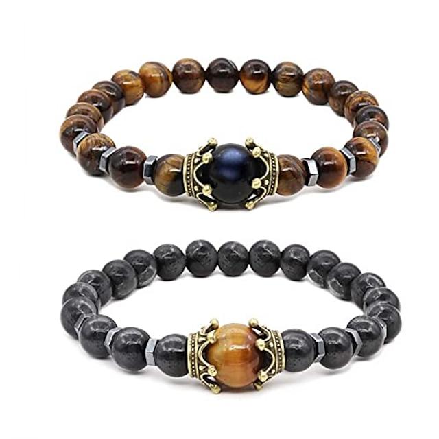 tiger eye bracelet set therapy hematite magnetic bracelets bracelets bring luck crown king queen natural stone beads couple bracelet for men women (a)