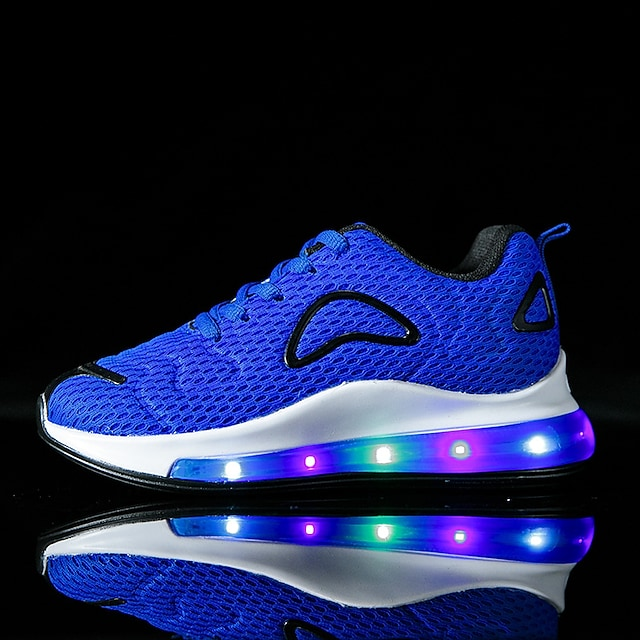 Boys and Girls Trainers Athletic Shoes LED Shoes Not rechargeable Elastic Fabric Light Up Shoes Big Kids(7years +) Little Kids(4-7ys) Toddler(9m-4ys) Daily Walking Shoes LED Red Blue Pink Fall Spring