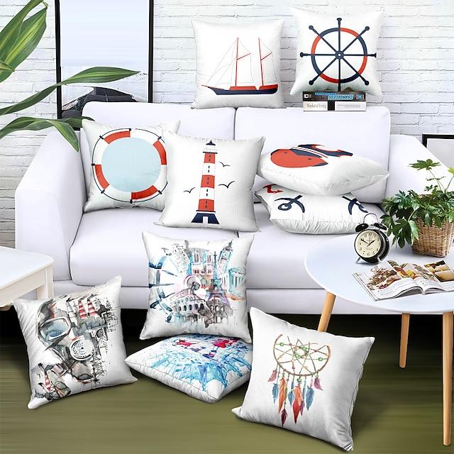 ปลอกหมอนอิงสองด้าน 1pc faux linen soft decorative square throw pillow cover cushion case pillowcase for sofa bedroom superior quality machine washable