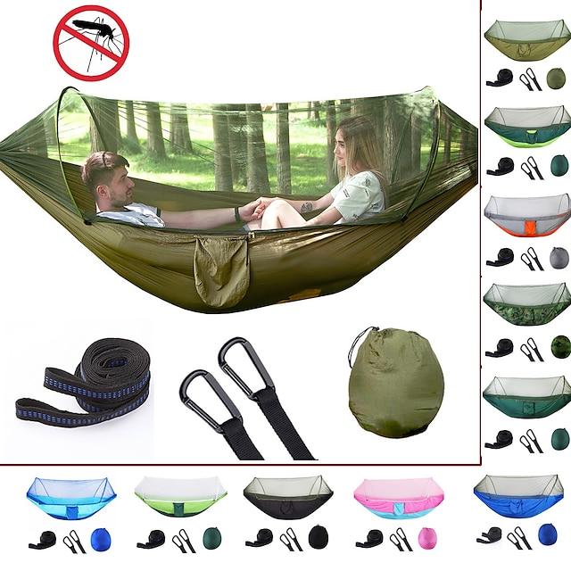 Hamac de camping avec moustiquaire escamotable Hamac double Extérieur Portable Anti-Moustique Ultra léger (UL) Bonne ventilation Respirable Nylon Parachute avec mousquetons et sangles pour 2 personne