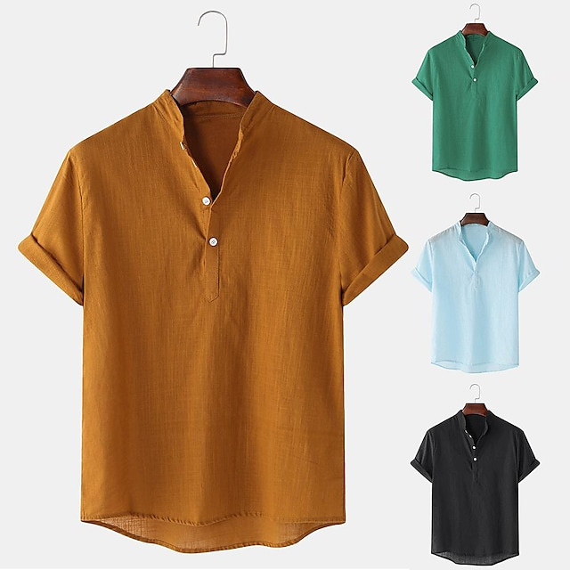 Men's Hiking Henley Shirt / Button Down Shirts Fishing Shirt Short Sleeve Jacket Top Outdoor Quick Dry Lightweight Breathable Sweat wicking Summer Linen / Cotton Blend ArmyGreen White Black Hunting