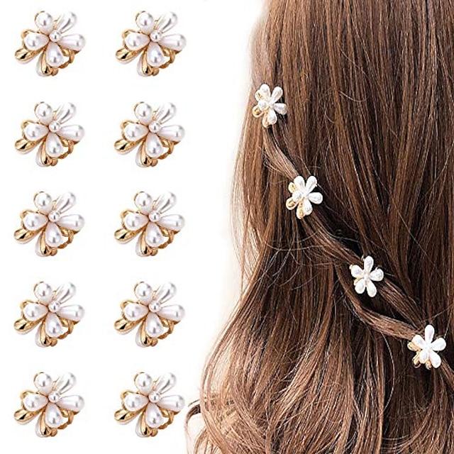 mini perlehårspinner for kvinner jenter, 10stk søte kunstige perlehårklipp, blomsterklemmer for festbryllup daglig