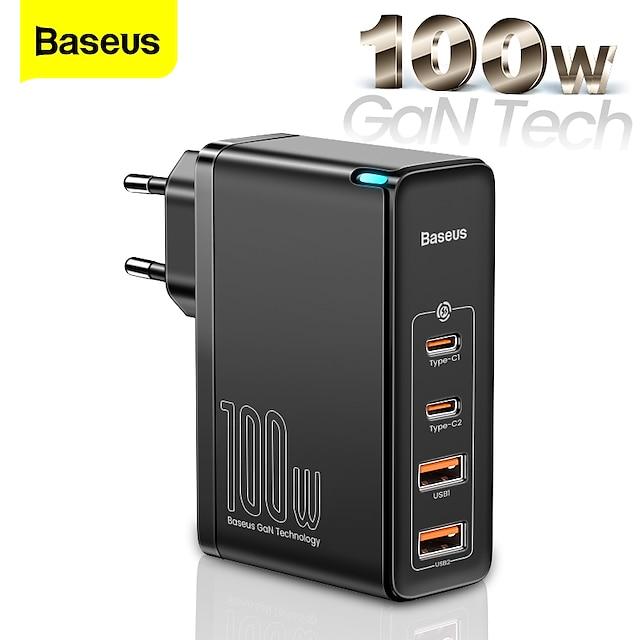 BASEUS 100 W Potenza di uscita USB C Caricatore PD Caricatore veloce Caricatore del telefono Caricatore GaN Caricatore per laptop Caricabatterie portatile Multiuscita Ricarica veloce Per iPad