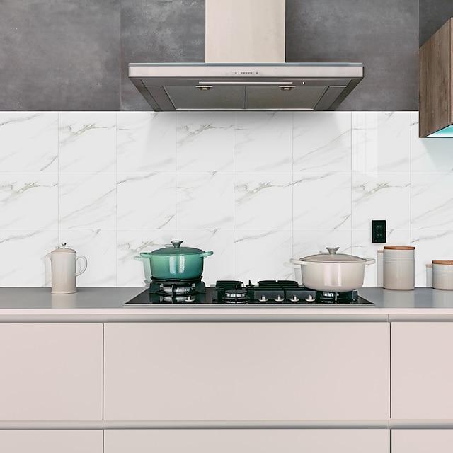 pieza dura pegatinas de azulejos de mármol papel tapiz de granito blanco de cristal pegatinas de pared autoadhesivas pegatinas impermeables extraíbles baño de la cocina del hogar papel pintado de