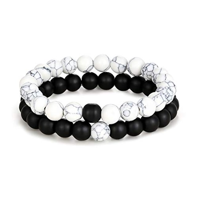 edary distance bracelet black matte agate & white howlite energy natural stone beads bracelet set friends relationship couples jewelry women men